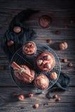 Сладостное пирожное с сливк шоколада, чокнутого и коричневых Стоковые Фото