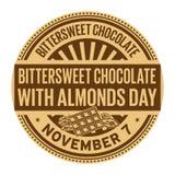 Сладостно-горький шоколад с днем миндалин бесплатная иллюстрация