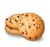 Сладостные печенья обломока choco с шоколадом ставят точки иллюстрация вектора Стоковая Фотография