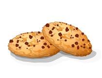 Сладостные печенья обломока choco с шоколадом ставят точки иллюстрация вектора Стоковое Изображение RF