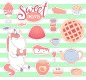Сладостные стикеры еды Стоковое Фото
