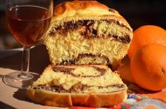 Сладостные хлеб, апельсины и вино Стоковые Изображения