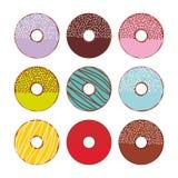 Сладостные donuts установленные при изолированные замороженность и sprinkls, пастельные цвета на белой предпосылке вектор Стоковое Фото
