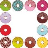 Сладостные donuts установленные при изолированные замороженность и sprinkls, пастельные цвета на белой рамке квадрата предпосылки Стоковые Изображения