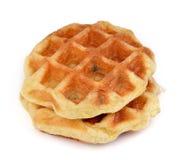 Сладостные waffles на белизне Стоковая Фотография