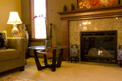 Сладостный домашний камин живущей комнаты стоковая фотография rf