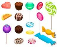 Сладостный комплект значка конфеты, равновеликий стиль иллюстрация вектора