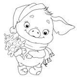 Сладостный характер свиньи Поросенок с herringbone китайский horoscope также вектор иллюстрации притяжки corel зодиак иллюстрация Стоковая Фотография