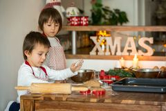 2 сладостных дет, братья мальчика, подготавливая печенья пряника Стоковые Фото