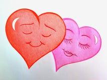 2 сладостных любящих сердца! Красный мужчина и розовая женщина! Иллюстрация вектора