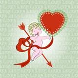 Сладостный купидон с сердцем Стоковая Фотография RF