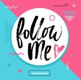 Следовать мной карточка сети красочная Комплект карточки для социального netwo средств массовой информации иллюстрация вектора