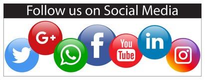 Следовать нами на социальном знамени средств массовой информации иллюстрация вектора