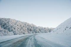 Следы дороги и автомобиля снега на дороге в зиме в северном Кавказе покрытые Снег деревья и горы против как крюка hang долларов п Стоковая Фотография RF