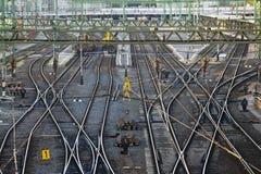 Следы железнодорожного вокзала стоковые изображения rf