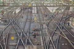 Следы железнодорожного вокзала стоковое изображение rf