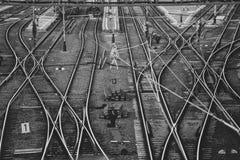 Следы железнодорожного вокзала стоковое фото