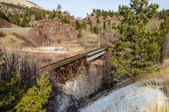 Следы железной дороги, дороги, и пейзаж Стоковые Фотографии RF