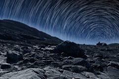 Следы звезды na górze горы Стоковая Фотография RF