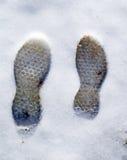 Следы ноги в снежке Стоковые Фото