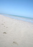 следы ноги пляжа стоковая фотография