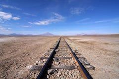 Следы поезда в пустыне Стоковая Фотография RF