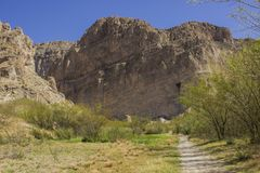 След к каньону Boquillas, большому национальному парку загиба Стоковое Изображение RF