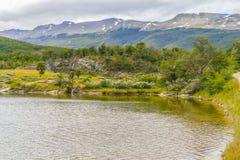 След, лес и река Lapataia, национальный парк Огненной Земли Стоковые Фотографии RF