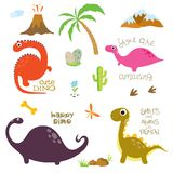 След ноги, вулкан, пальма, камни, косточка и кактус динозавра иллюстрация штока