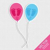 След ноги и воздушные шары младенца - значки девушки и мальчика - изолированные на прозрачной предпосылке Стоковая Фотография RF