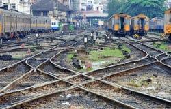 след перспективы соединения скрещивания железнодорожный Стоковое Фото