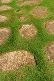 След плоских камней и зеленой травы Стоковые Изображения RF
