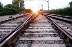 след поля глубины железнодорожный отмелый Стоковая Фотография