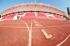 след стадиона гонки футбола Стоковые Изображения