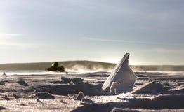 след snowmobile снежка Стоковая Фотография