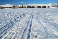след snowmobile Стоковые Изображения RF