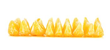 Слезли изолированные части плодоовощ мандарина Стоковые Фото