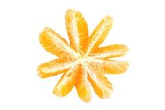 Слезли изолированные части плодоовощ мандарина Стоковые Изображения RF