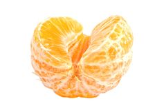 Слезли изолированные части плодоовощ мандарина Стоковое фото RF