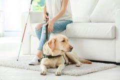 Слепая женщина при собака-поводырь сидя на софе Стоковая Фотография