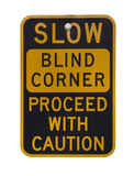 слепое угловойое предупреждение знака Стоковые Фотографии RF