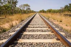 след захолустья Австралии железнодорожный Стоковая Фотография