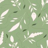 Сливк руки вычерченная и зеленые листья с орнаментальными свирлями Безшовная картина вектора на теплой зеленой предпосылке Большо иллюстрация штока
