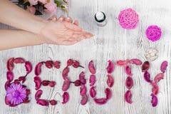 Сливк рук красоты женская для цветков рук Стоковая Фотография RF