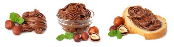 сливк шоколада при фундук изолированный на белой предпосылке стоковое фото