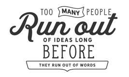 Слишком бег много людей из идей прежде они побегут из слов иллюстрация штока