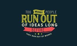 Слишком бег много людей из идей прежде они побегут из слов иллюстрация вектора