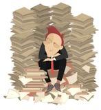 Слишком много документы и иллюстрация бизнесмена Стоковое Изображение