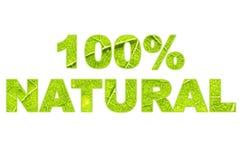 Слова 100% естественные заполнили при макрос зеленых лист изрезанный поверхностный изолированный на белизне Стоковая Фотография