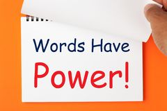 Слова имеют концепцию силы стоковые фото